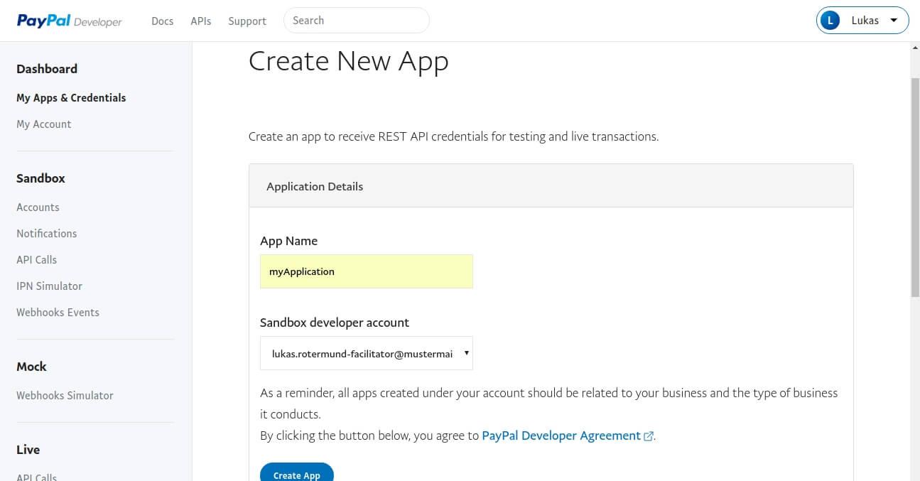 Paypal Developer: Neue App hinzufügen