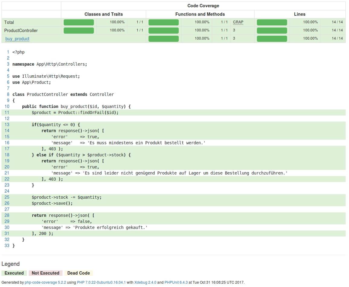 Schritt drei im Code Coverage Report: Analyse der Datei ProductController.php