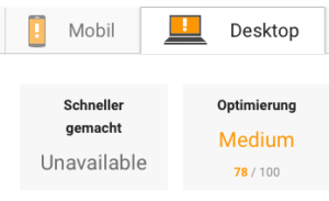 Der Test mit Google Page Speed Insights