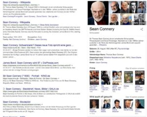 Sean Connery im Knowledge Graph