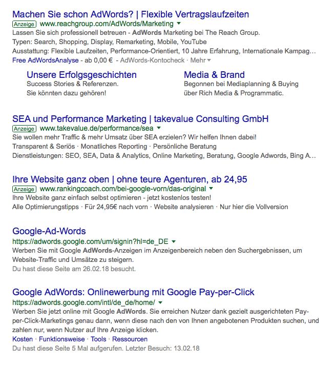 Beispiel Google-Ergebnisseite