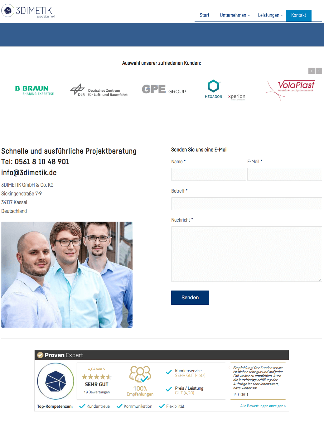 Abbildung 11: Kontaktformular des Unternehmens 3DIMETIK (Quelle: 3DIMETIK1)