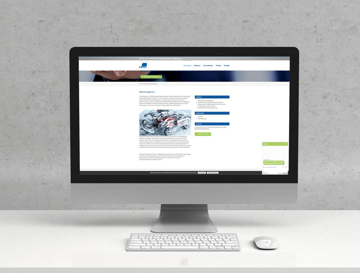 Alle Leistungen von Casim werden übersichtlich auf der Website gezeigt. Für eine besonders hohe Benutzerfreundlichkeit integrierten wir einen Live-Chat, um Besuchern die Möglichkeit zu bieten, direkt Kontakt aufzunehmen und Fragen zu stellen.