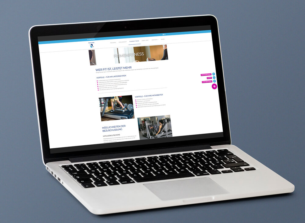 Bei der farblichen Gestaltung übernahmen wir das Design des Logos um das Corporate Design von Fit for Life in die Website mit aufzunehmen. So entwickelten wir eine moderne und dynamische Website, die die Werte und Schwerpunkte des Fitnessstudios wiederspiegelt.