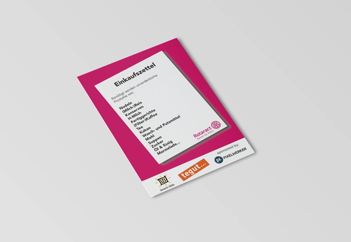 Für die Kauf-eins-mehr-Spendenaktion gestalteten wir einen ansprechenden Einkaufszettel, um die Menschen zum Spenden anzuregen.