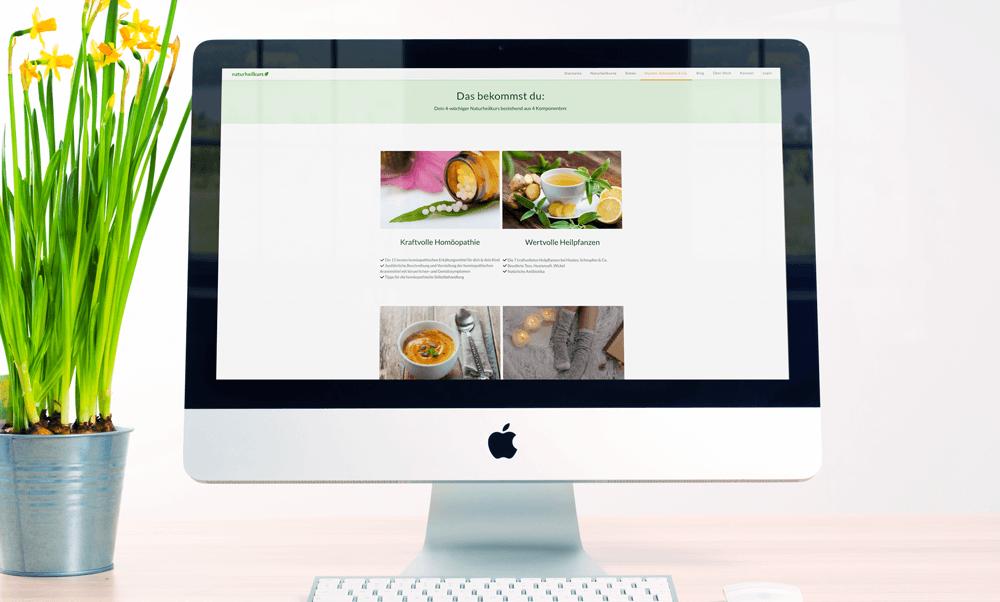 Unser Ziel bei der Gestaltung der Website war ein ansprechendes Design, das übersichtlich das Angebot des Naturheilkurses vermittelt.