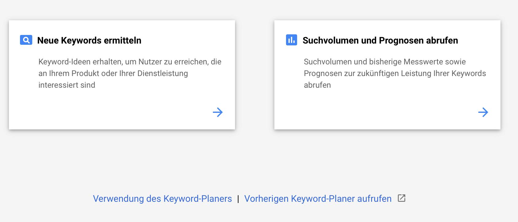 Übersicht Keyword-Planer
